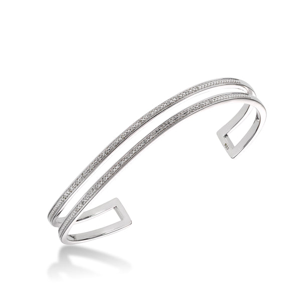 Double Strand Diamond Cuff Bracelet, Sterling Silver