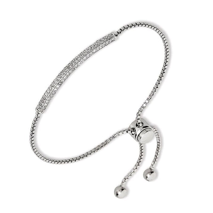 Flexible Cubic Zirconia Bracelet, Sterling Silver