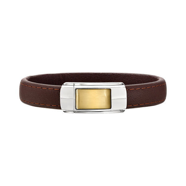 Gold Tone Design Brown Leather Men's Bracelet, 8.50 Inches