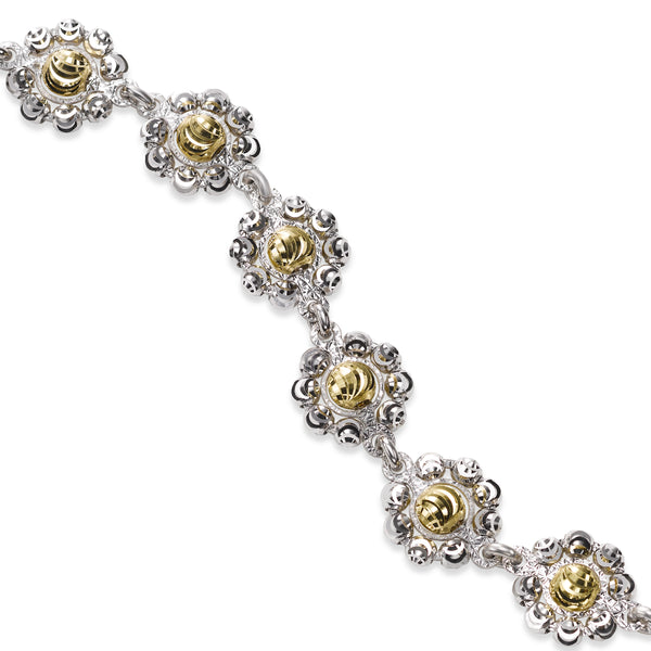Two Tone Daisy Bracelet, Sterling Silver wiht 18K Yellow Gold Plating