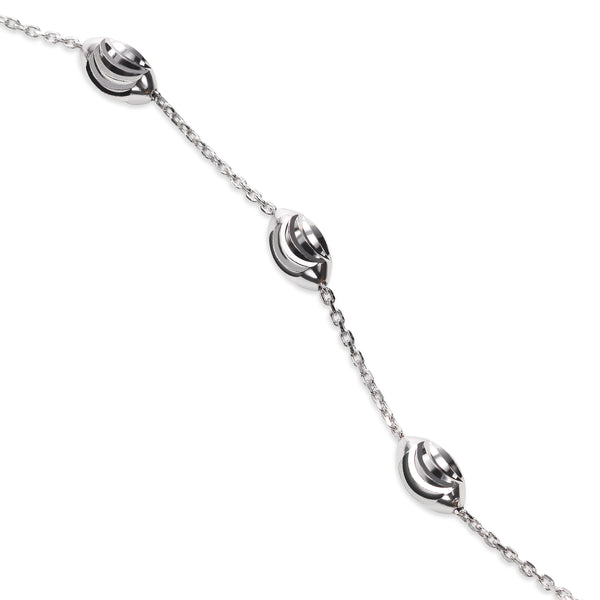 Oval Bead Bracelet, 8 Inches, Sterling Silver with Platinum Plating