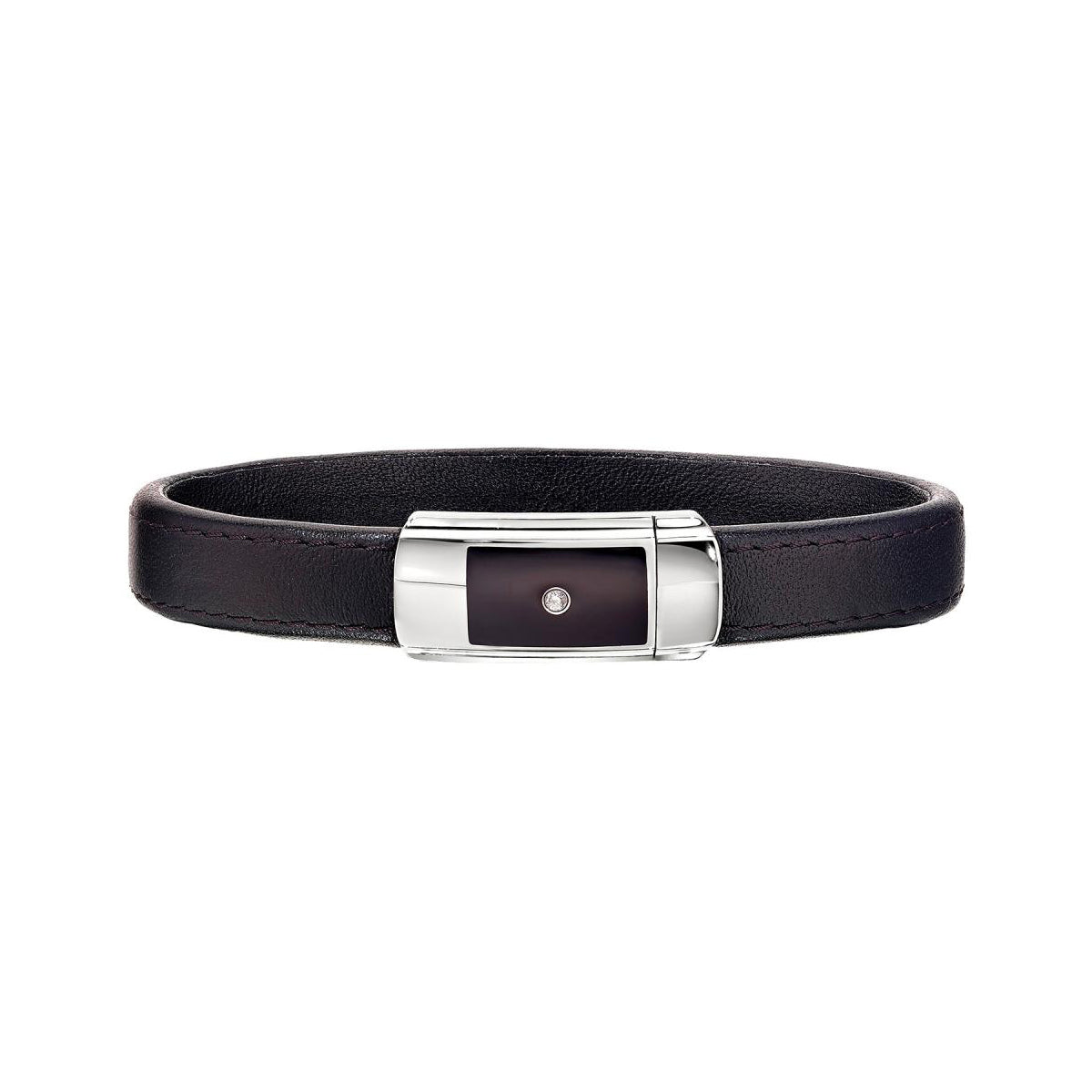 Diamond Accented Black Leather Men's Bracelet, 8.50 Inches