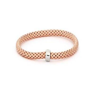 Popcorn Chain Bangle Bracelet, Sterling Silver with Rose Gold Plating