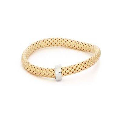 Popcorn Chain Bangle Bracelet, Sterling Silver with Yellow Gold Plating