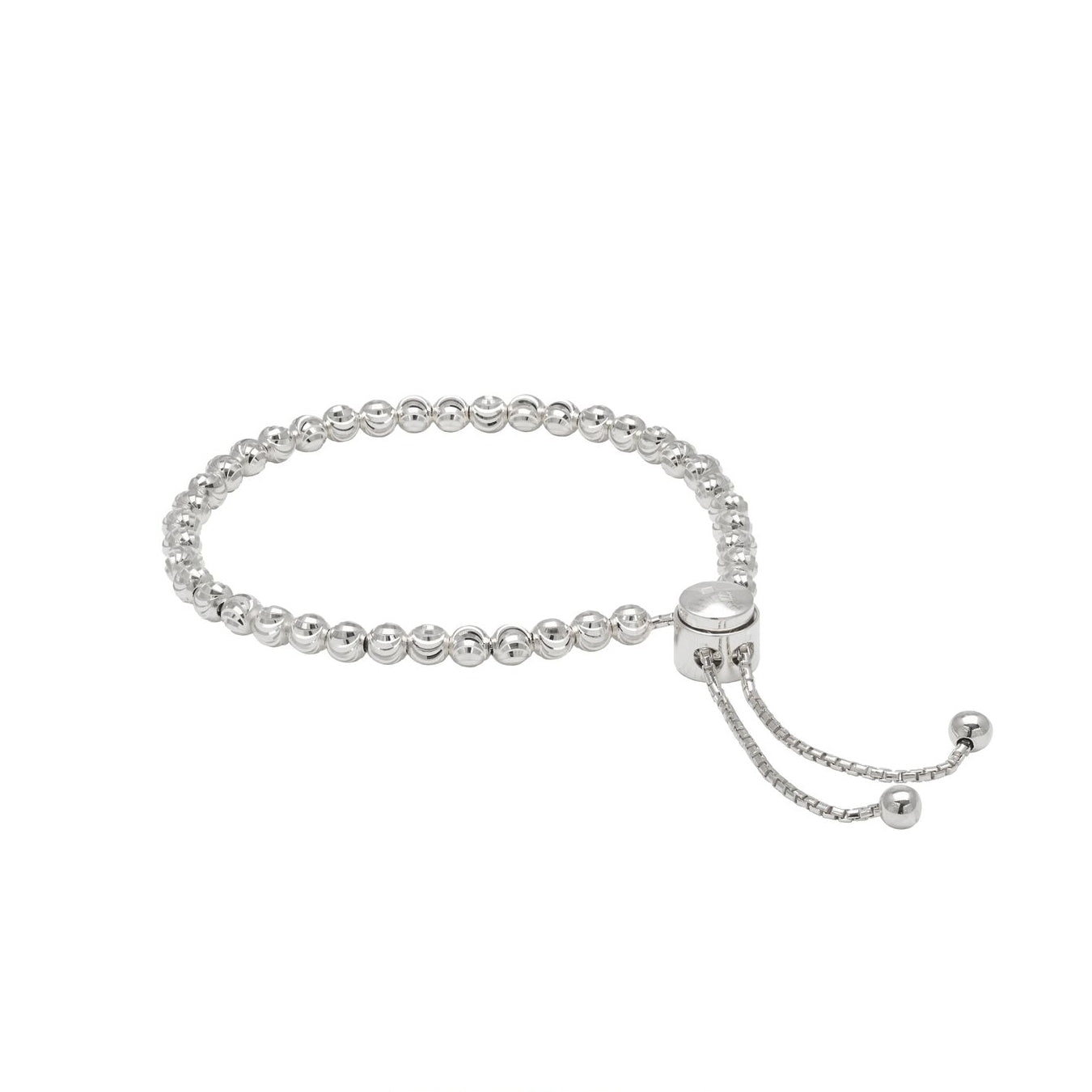 Adjustable Bead Bracelet, Sterling Silver with Platinum Plating