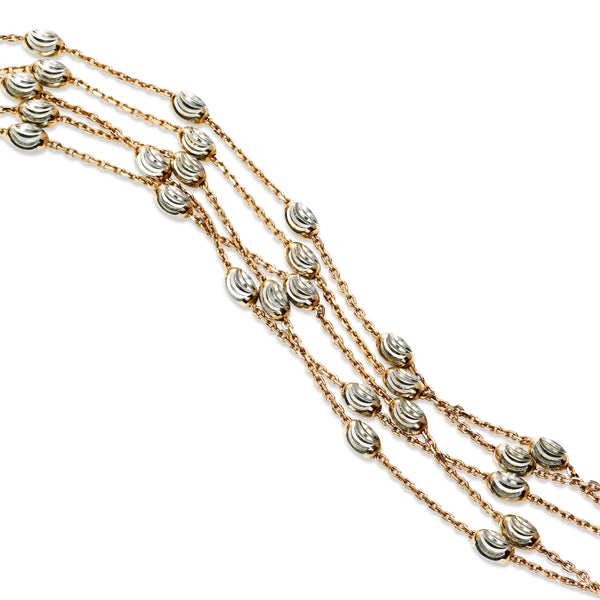 Five Strand Bead Bracelet, Sterling with 18K Rose Gold Plating