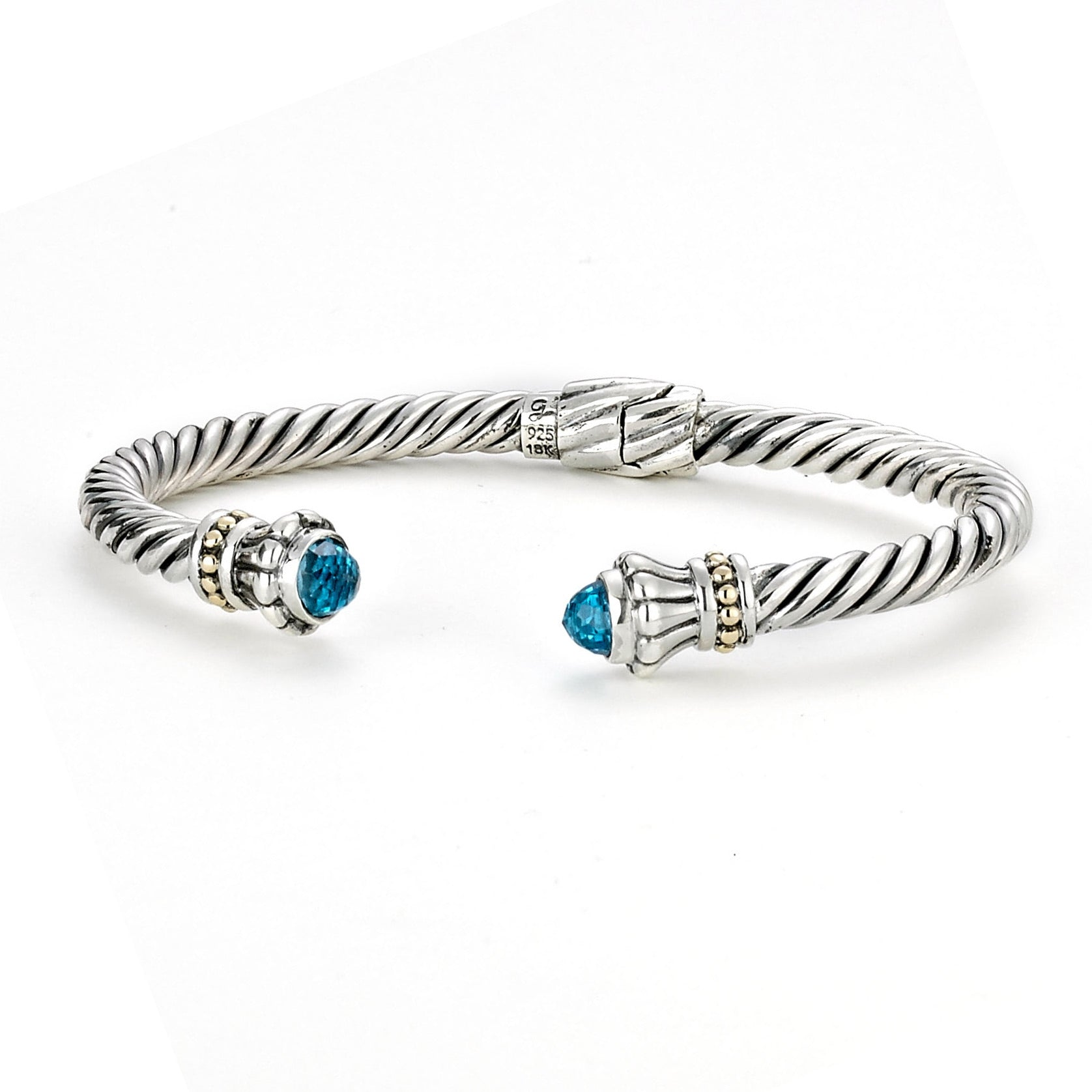 Rope Design Cuff with Blue Topaz Ends, Sterling Silver