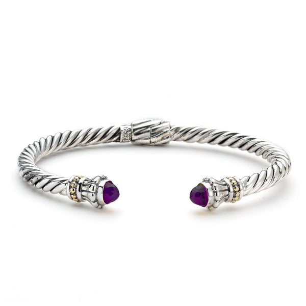 Rope Design Cuff with Amethyst Ends, Sterling Silver