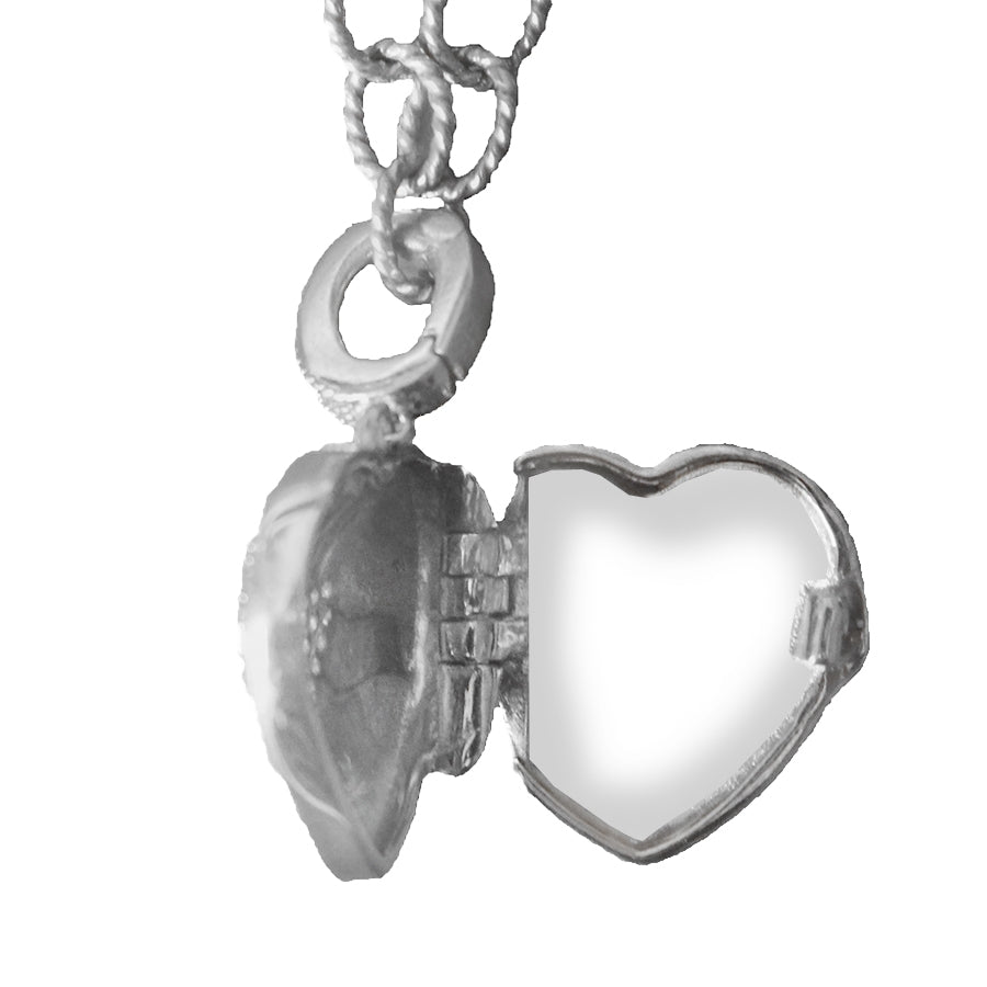 Pavé Diamond Heart Locket Bracelet, 9 Inches, Sterling Silver