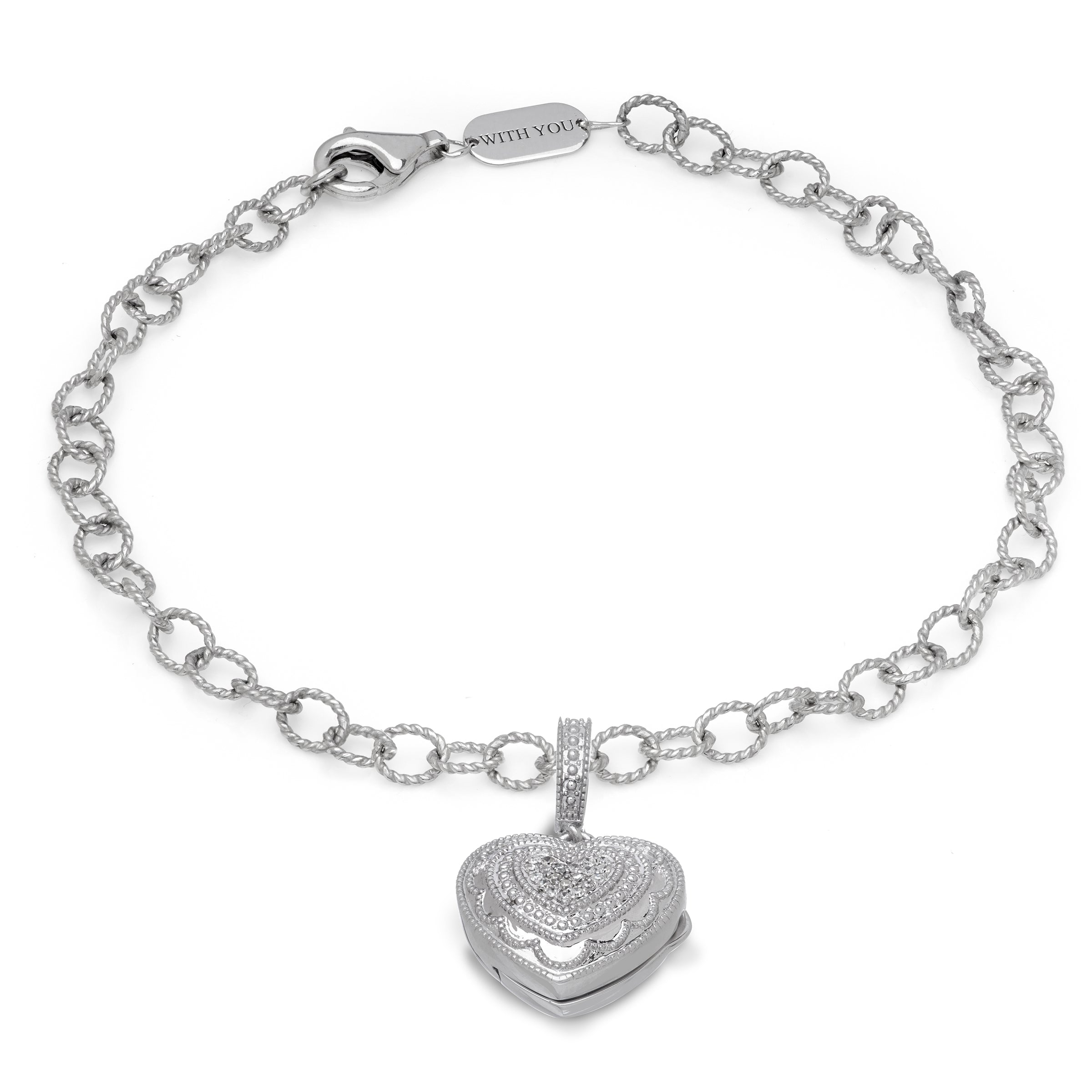 d6975cfa3 Pavé Diamond Heart Locket Bracelet, 9 Inches, Sterling Silver | Long ...