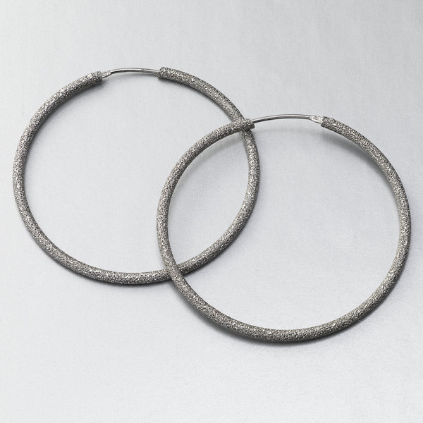 Medium 1.75 Inch Sparkle Hoops by Sharelli, Sterling Silver