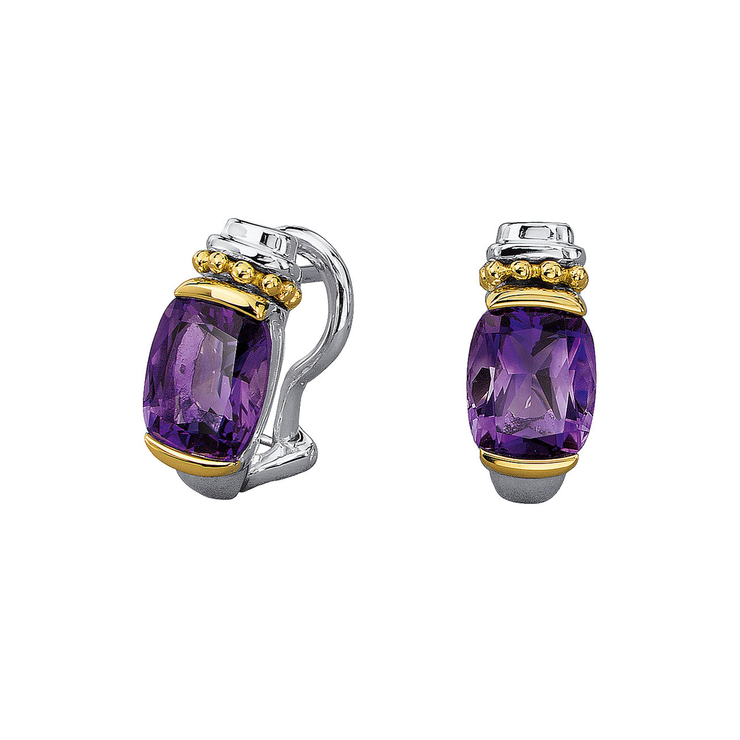 Amethyst Earring with Beaded Detail, Sterling Silver, 18K