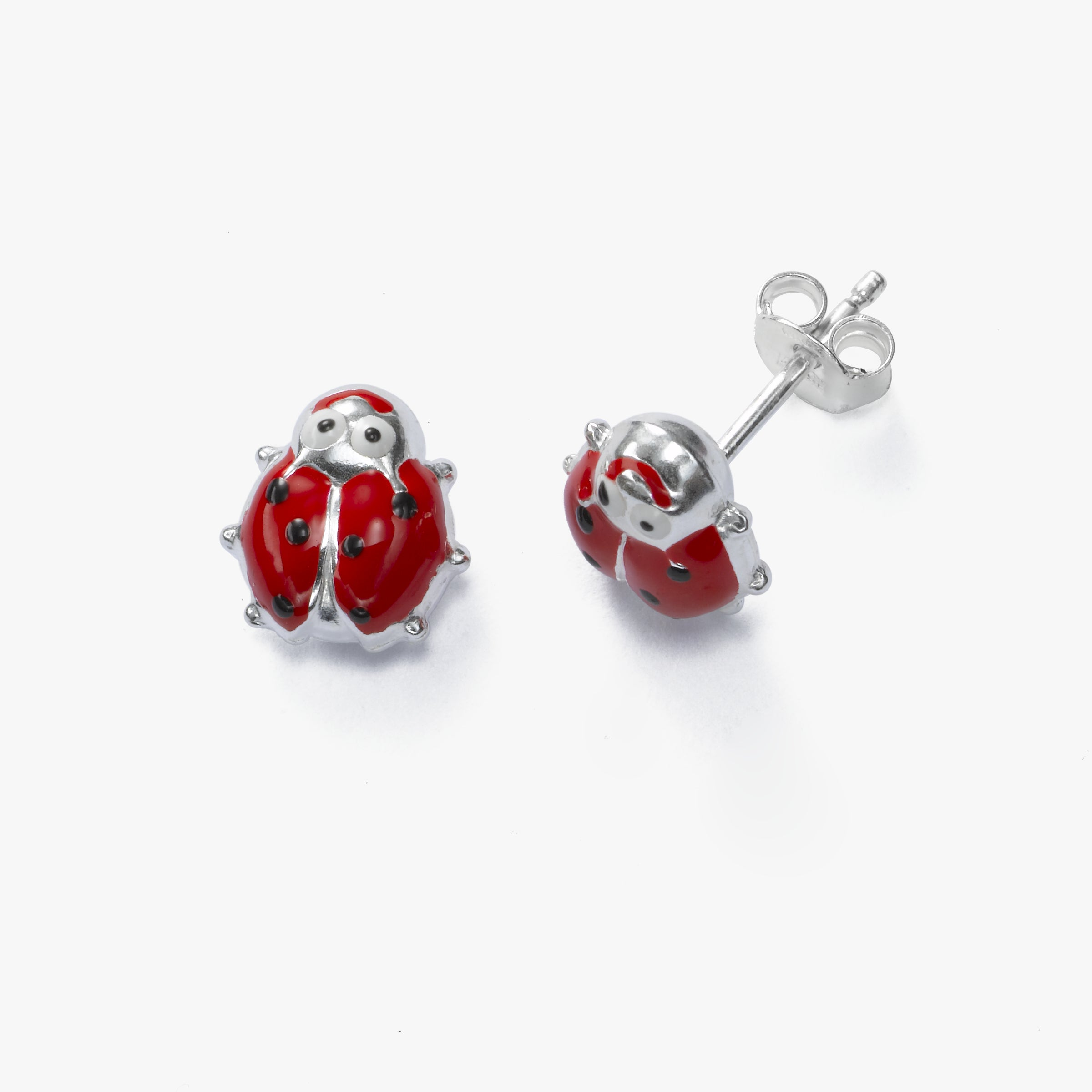 Red Ladybug Earring, Sterling Silver