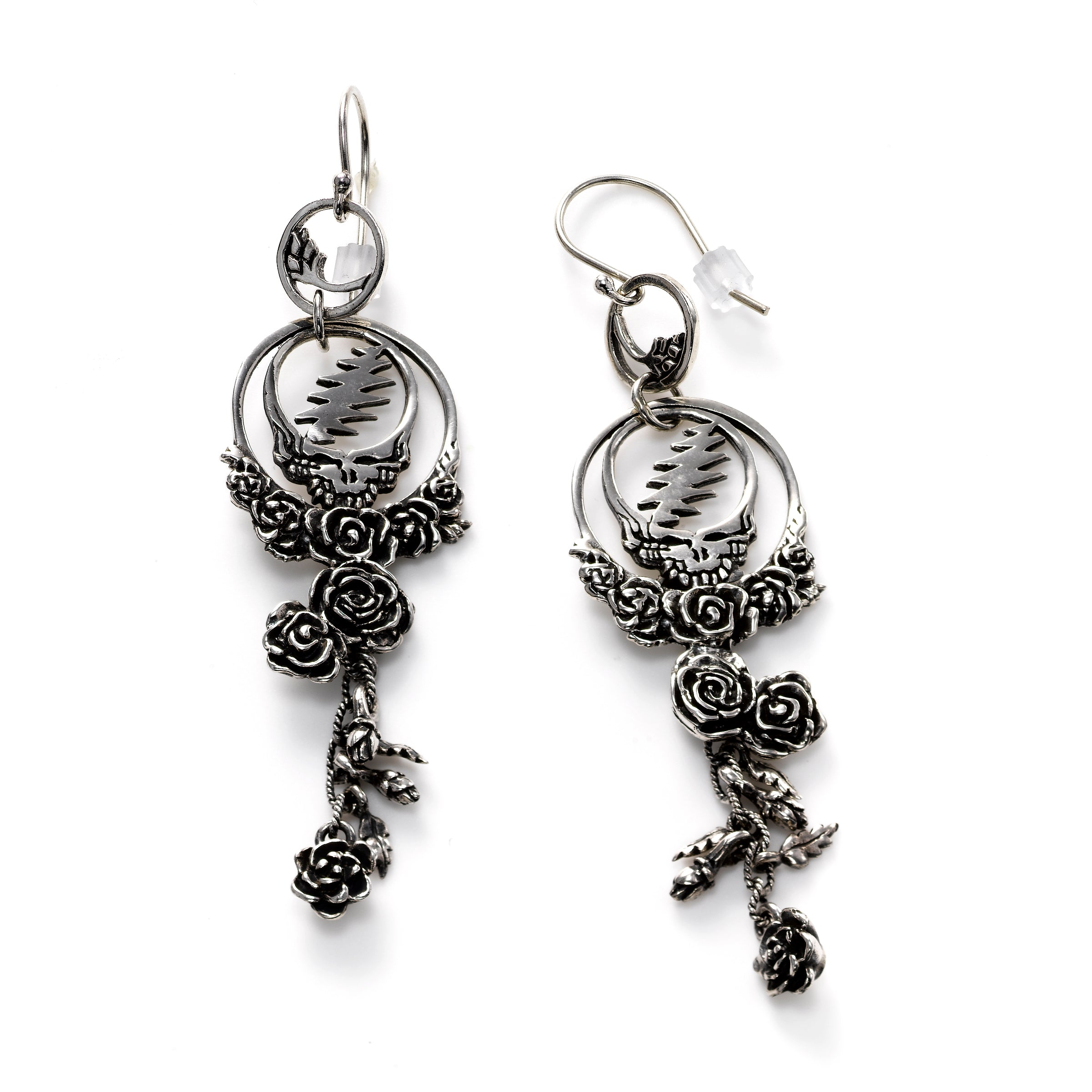 Grateful Dead Dangle Earrings, Sterling Silver