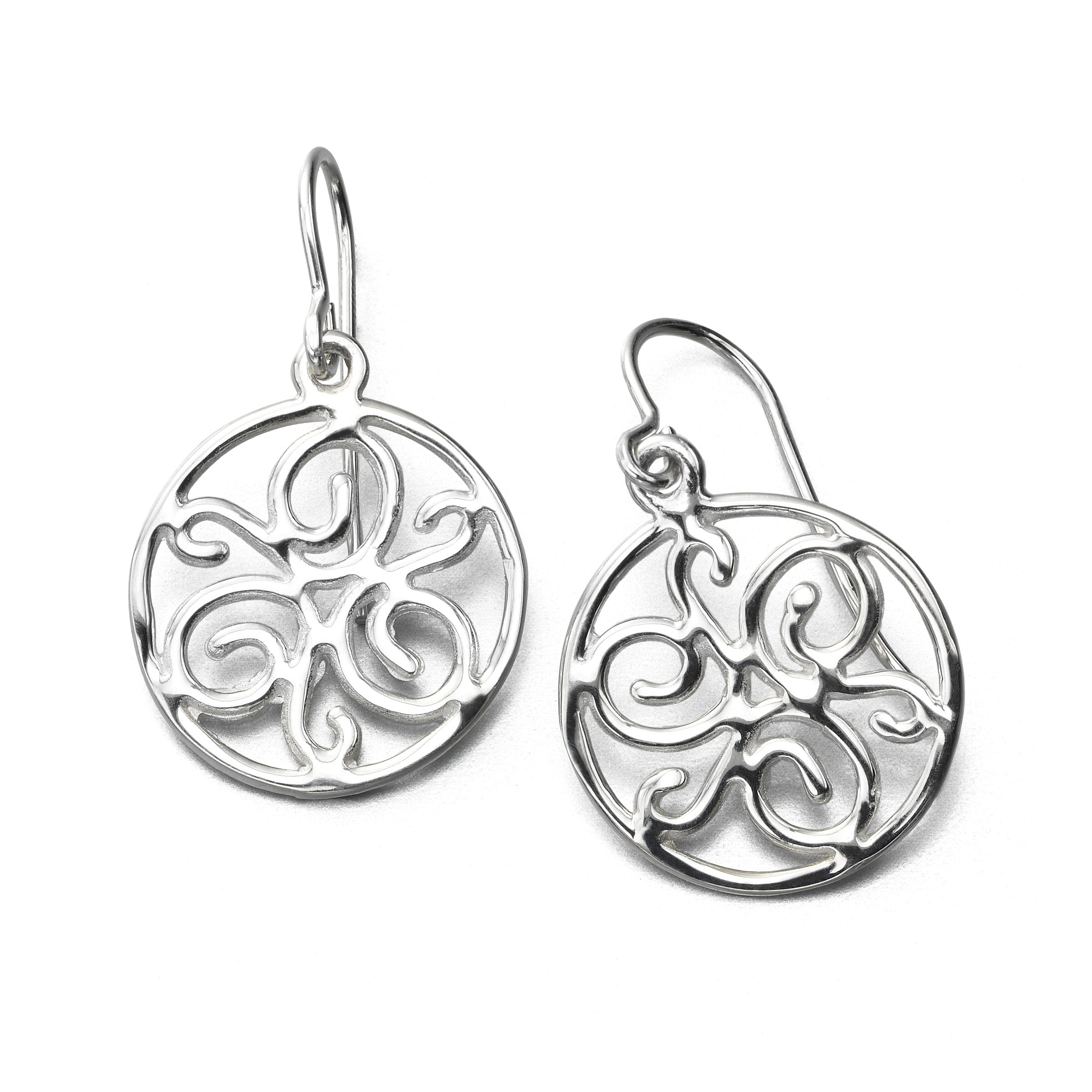 Circle Scrolled Drop Earring, Sterling Silver by Sharelli