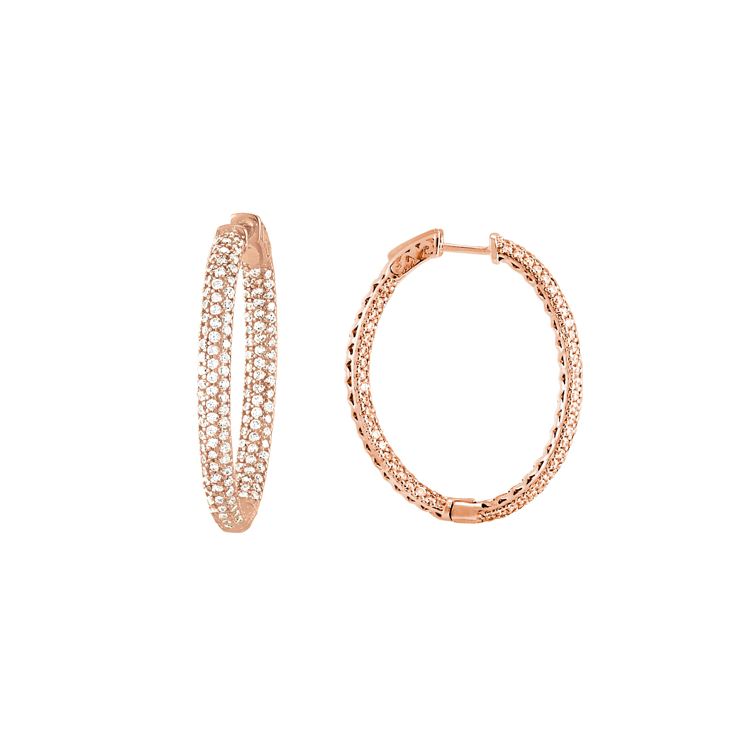 Pavé Set CZ Oval Hoop Earrings, Sterling Silver with Rose Gold Plating