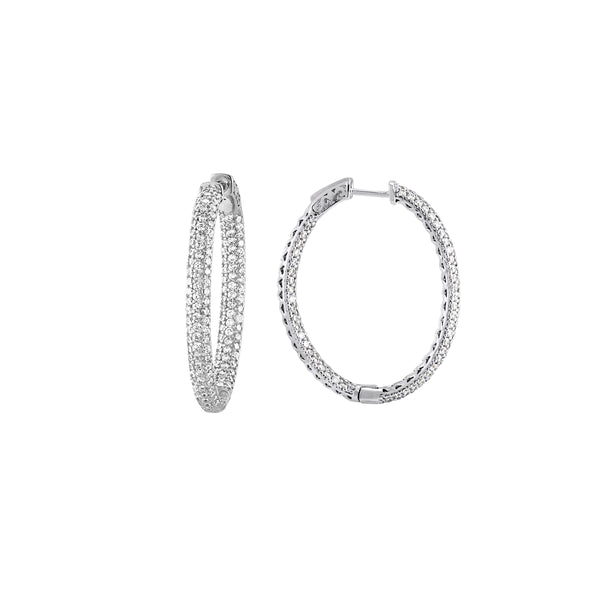 Pavé Set CZ Oval Hoop Earrings, Sterling Silver