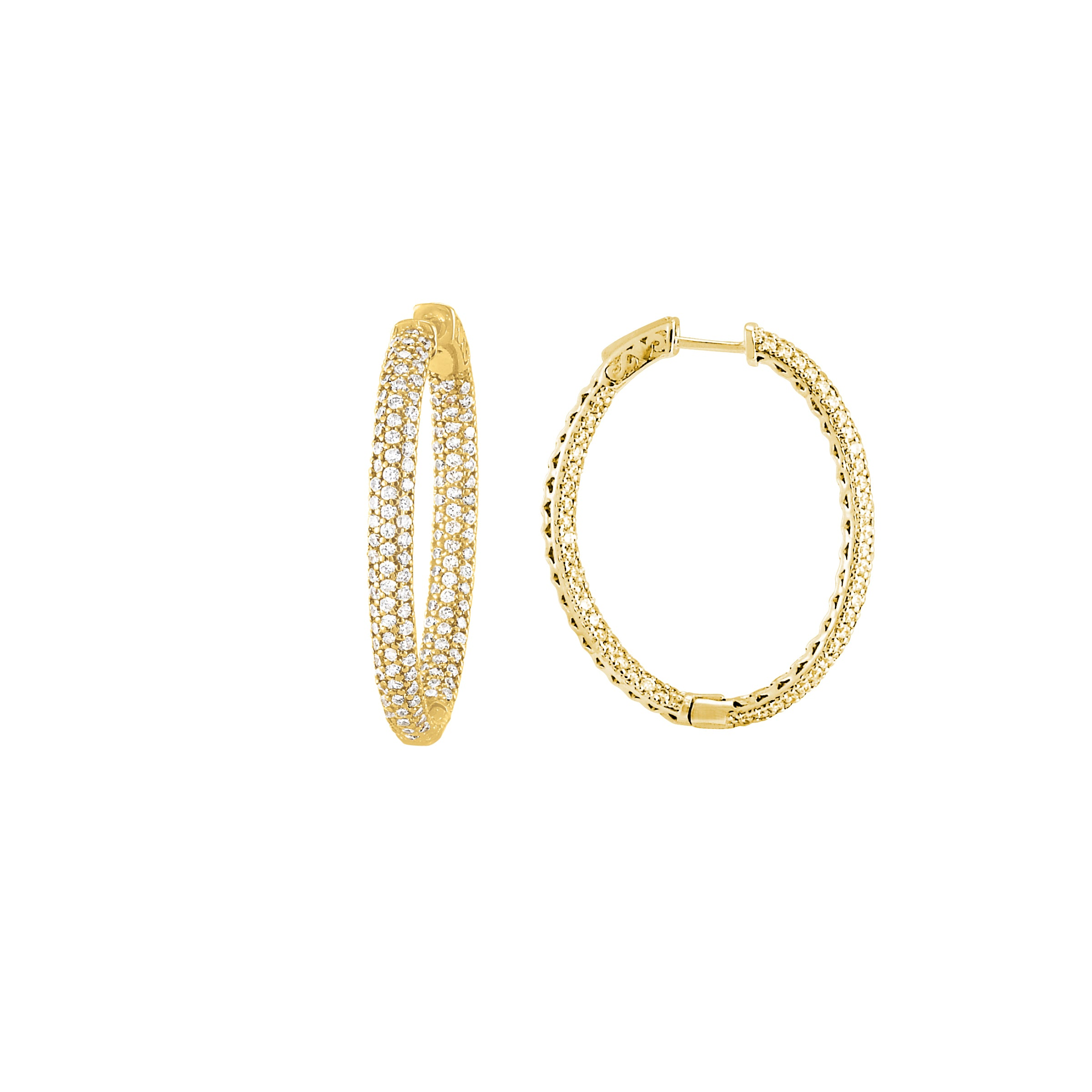 Pavé Set CZ Oval Hoop Earrings, Sterling Silver with Yellow Gold Plating