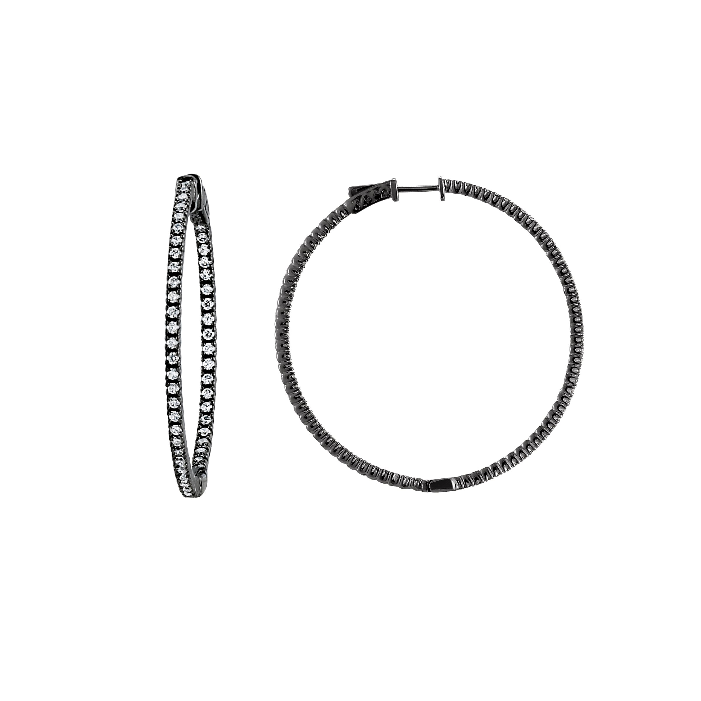 CZ Single Row Inside Out Hoop Earrings, 2 Inches, Sterling Silver with Black Rhodium
