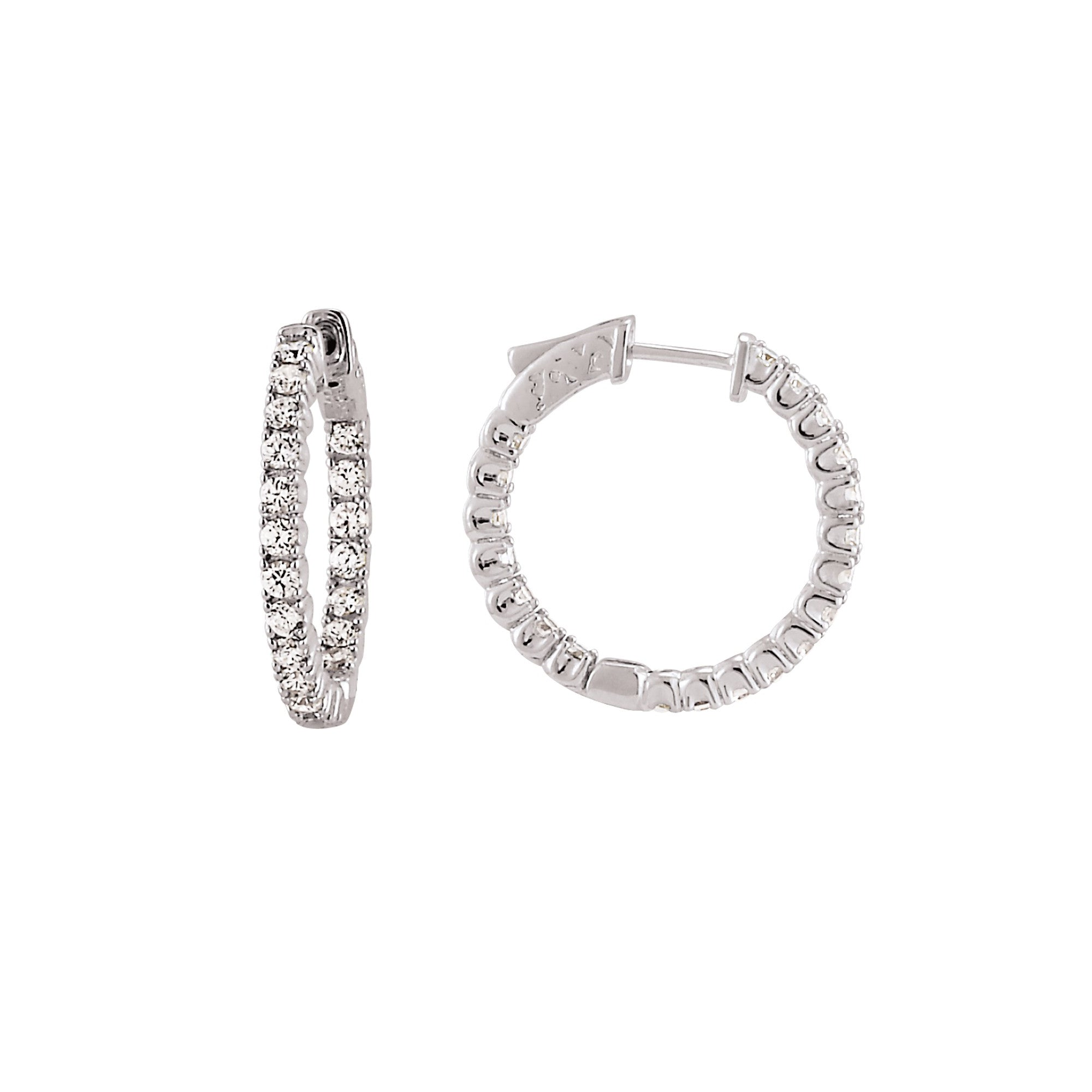 Inside Out CZ Hoops, 1 Inch, Sterling Silver in White Rhodium