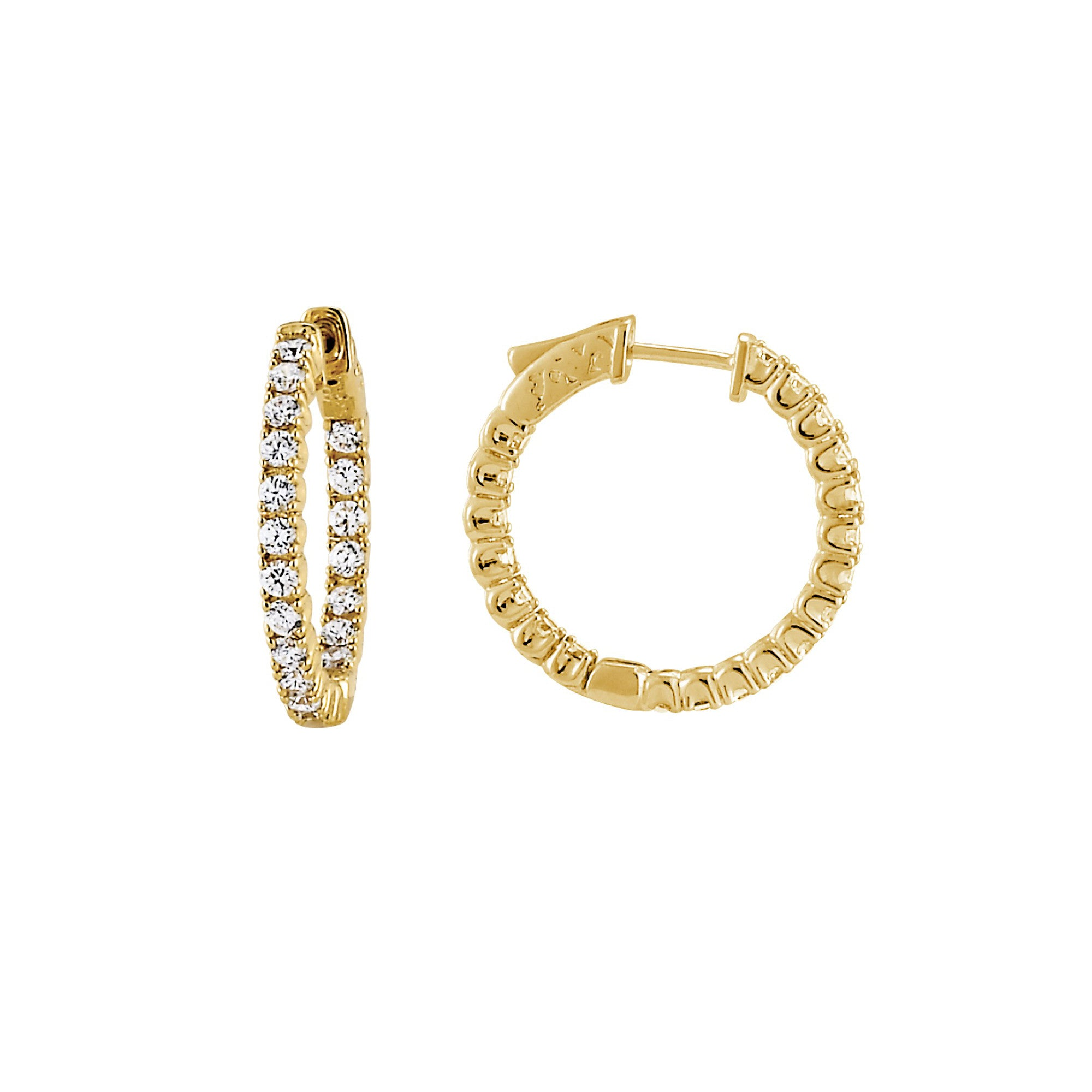 Inside Out CZ Hoops,1 Inch, Sterling Silver with Yellow Gold Plating