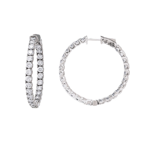 Inside Out CZ Hoops, 1.40 Inches, Sterling Silver in White Rhodium
