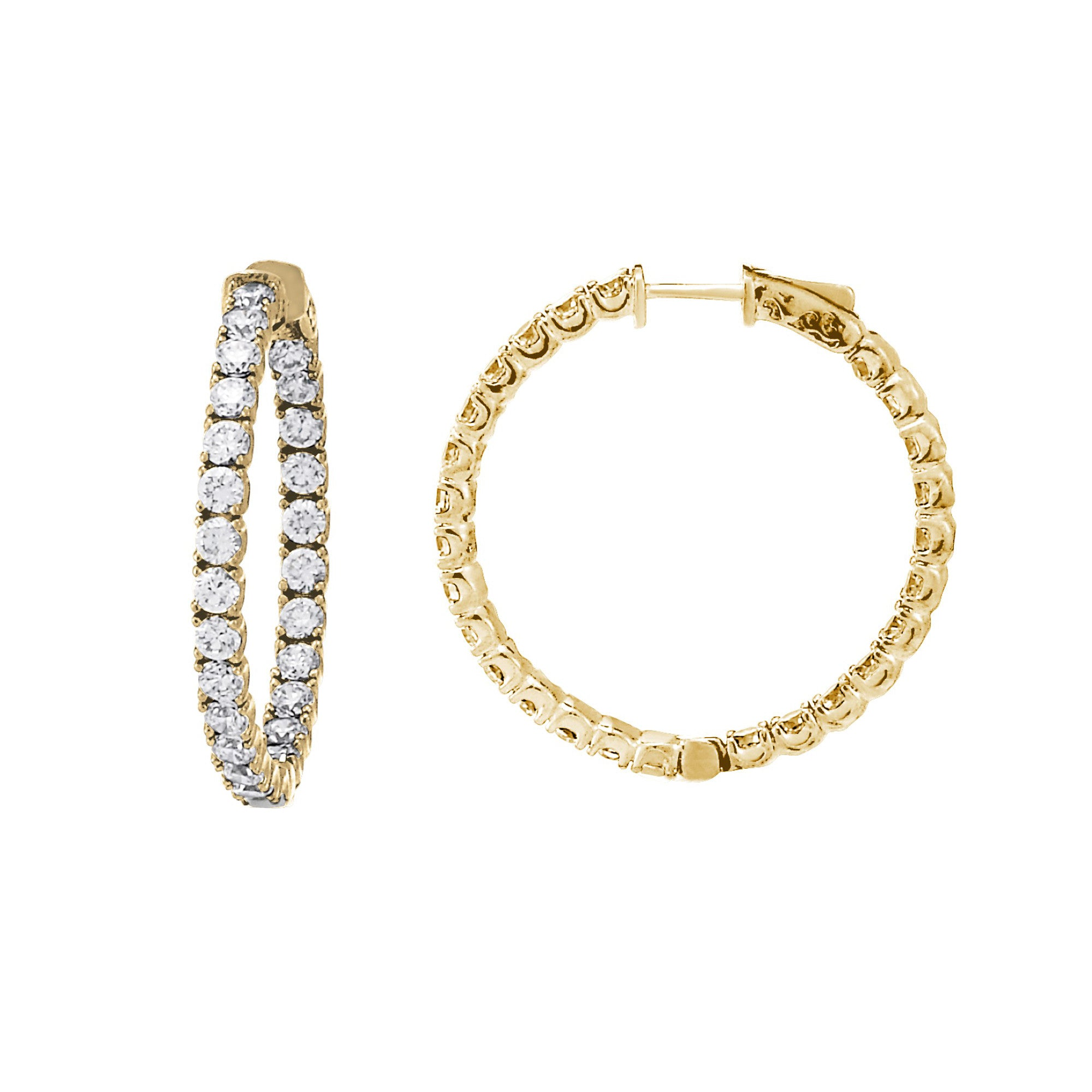 Inside Out CZ Hoops, 1.40 Inches, Sterling Silver with Yellow Gold Plating