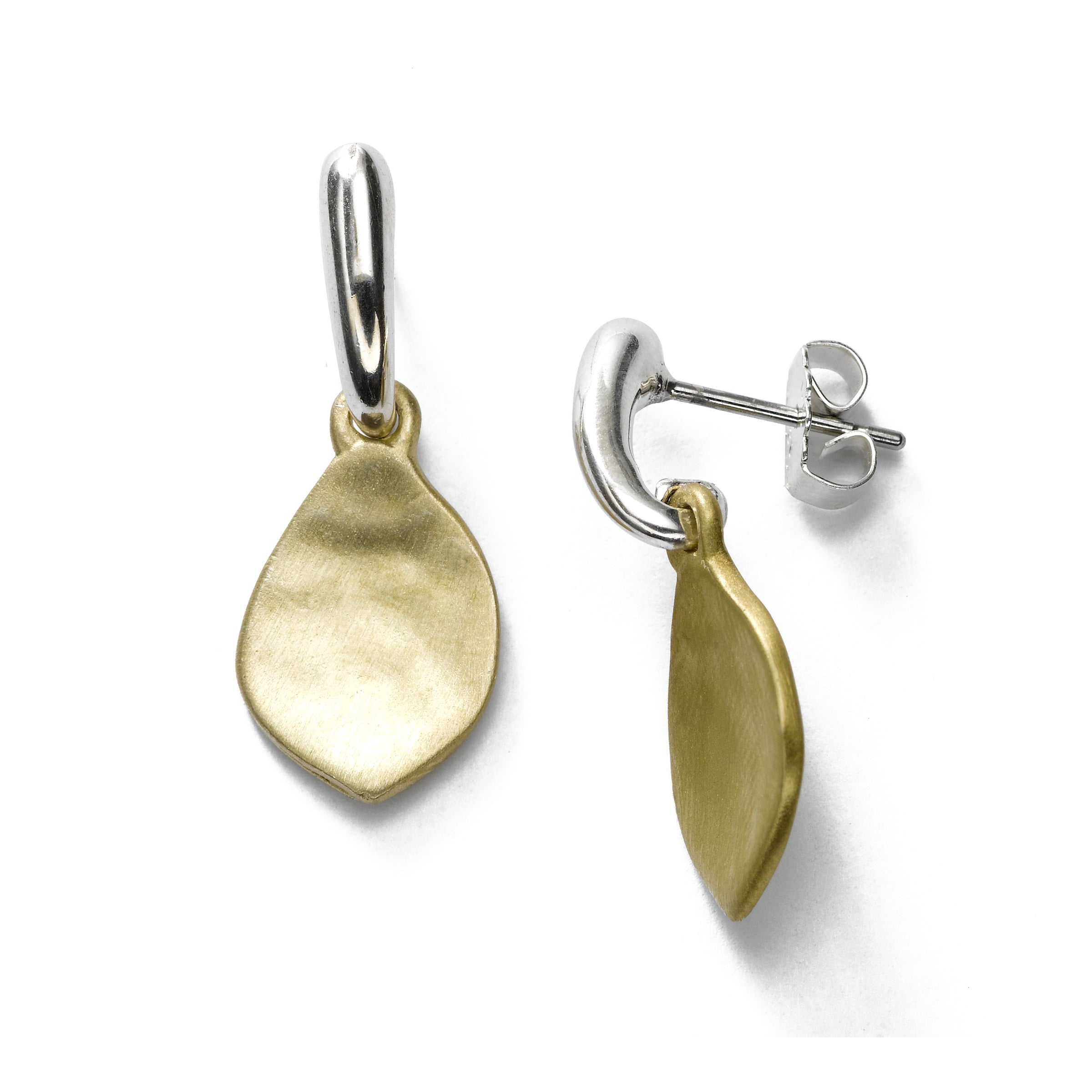 Satin Finish Leaf Dangle Earrings, Sterling Silver and Vermeil
