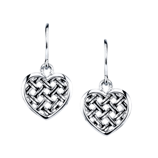 "Mini ""Love of the World"" Heart Earrings, Sterling Silver"