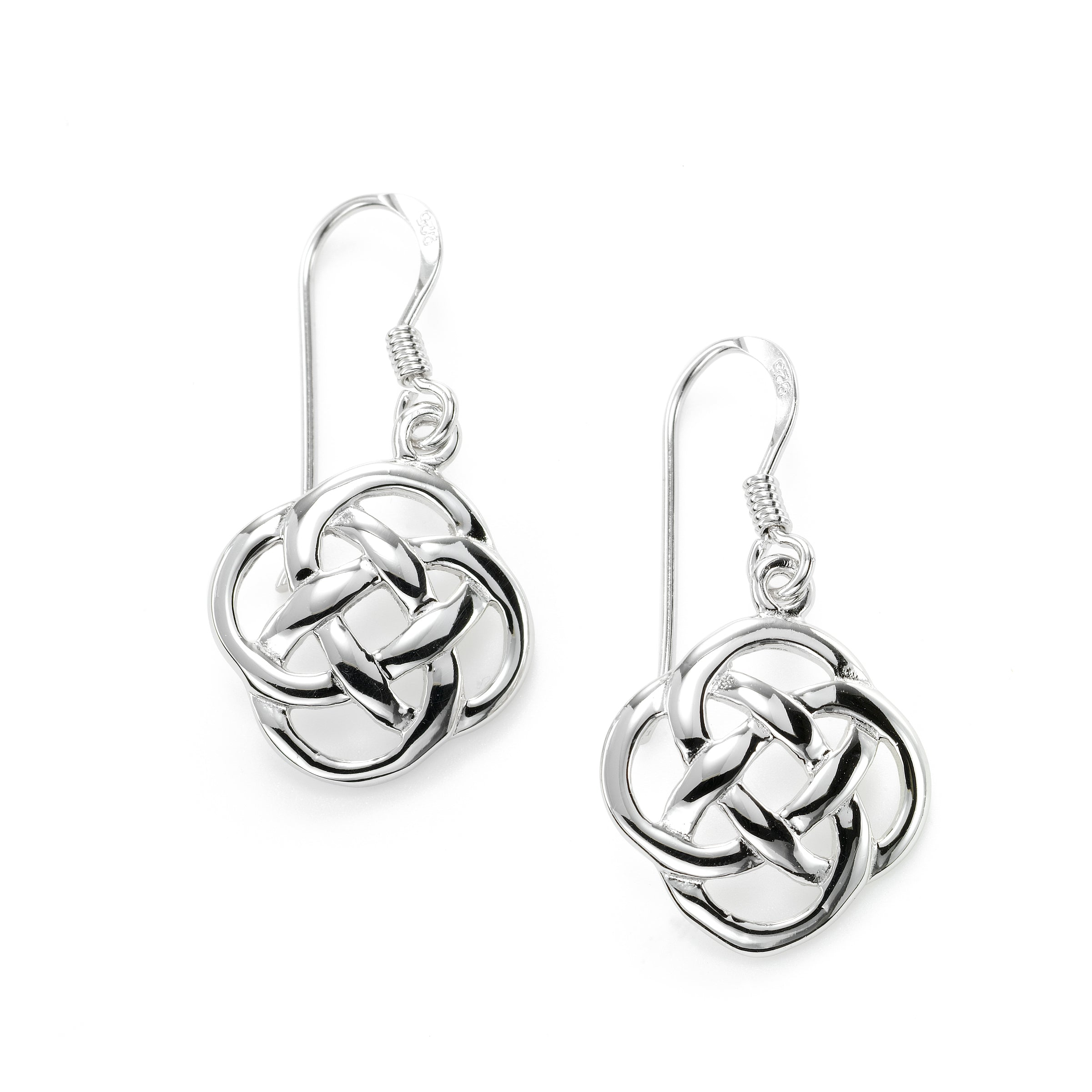 Interlocking Knot Drop Earrings, Sterling Silver