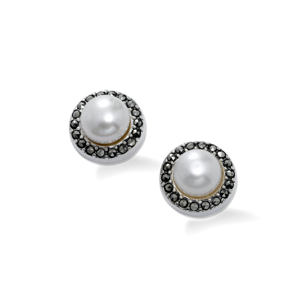 Freshwater Pearl and Marcasite Earrings, Sterling Silver