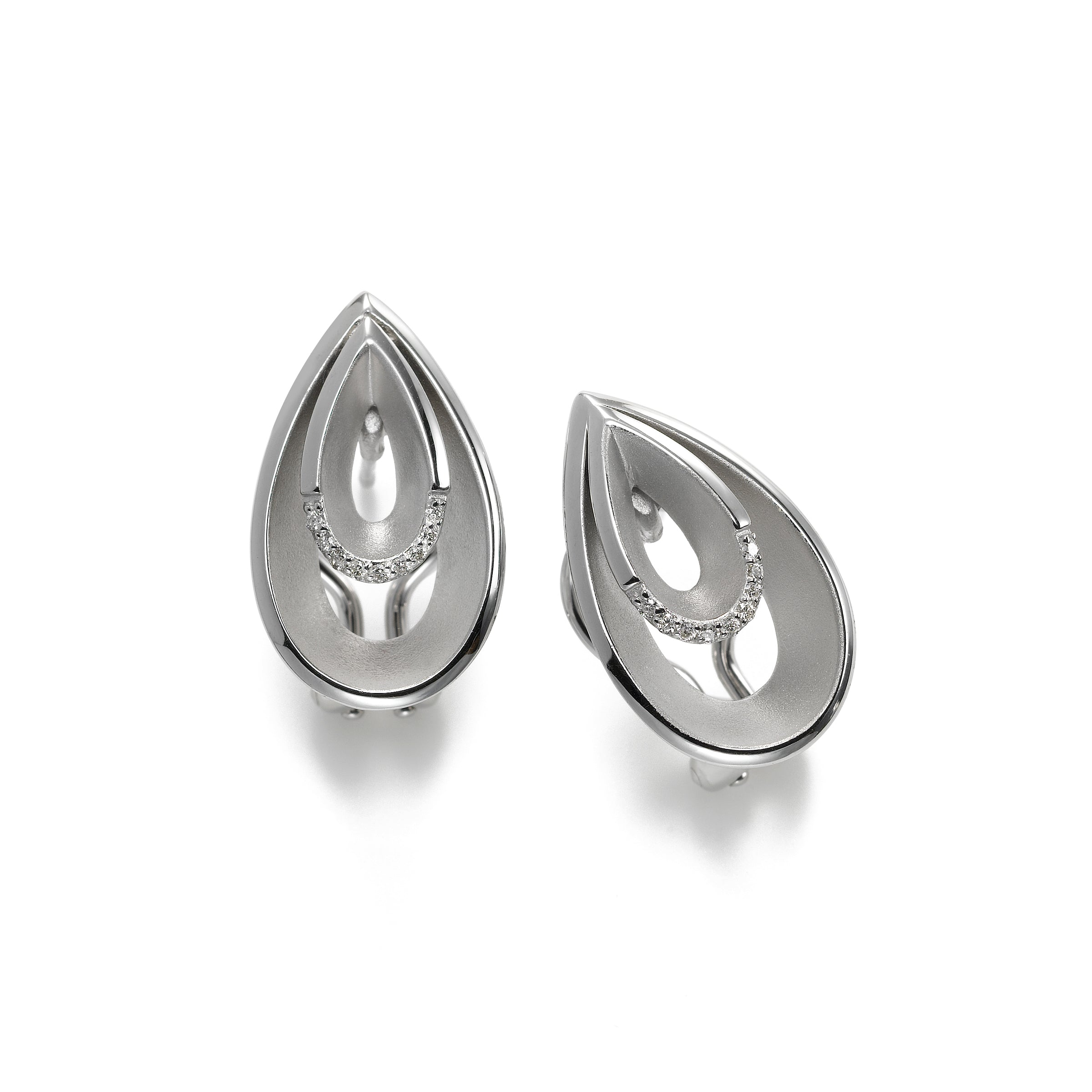 Double Pearshape Earrings with White Topaz Accent, Sterling Silver