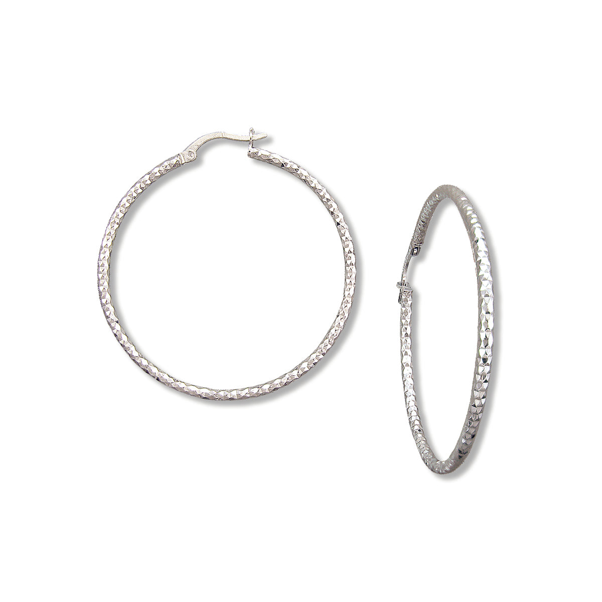 Textured Hoop Earrings, 1.75 Inches, Sterling Silver