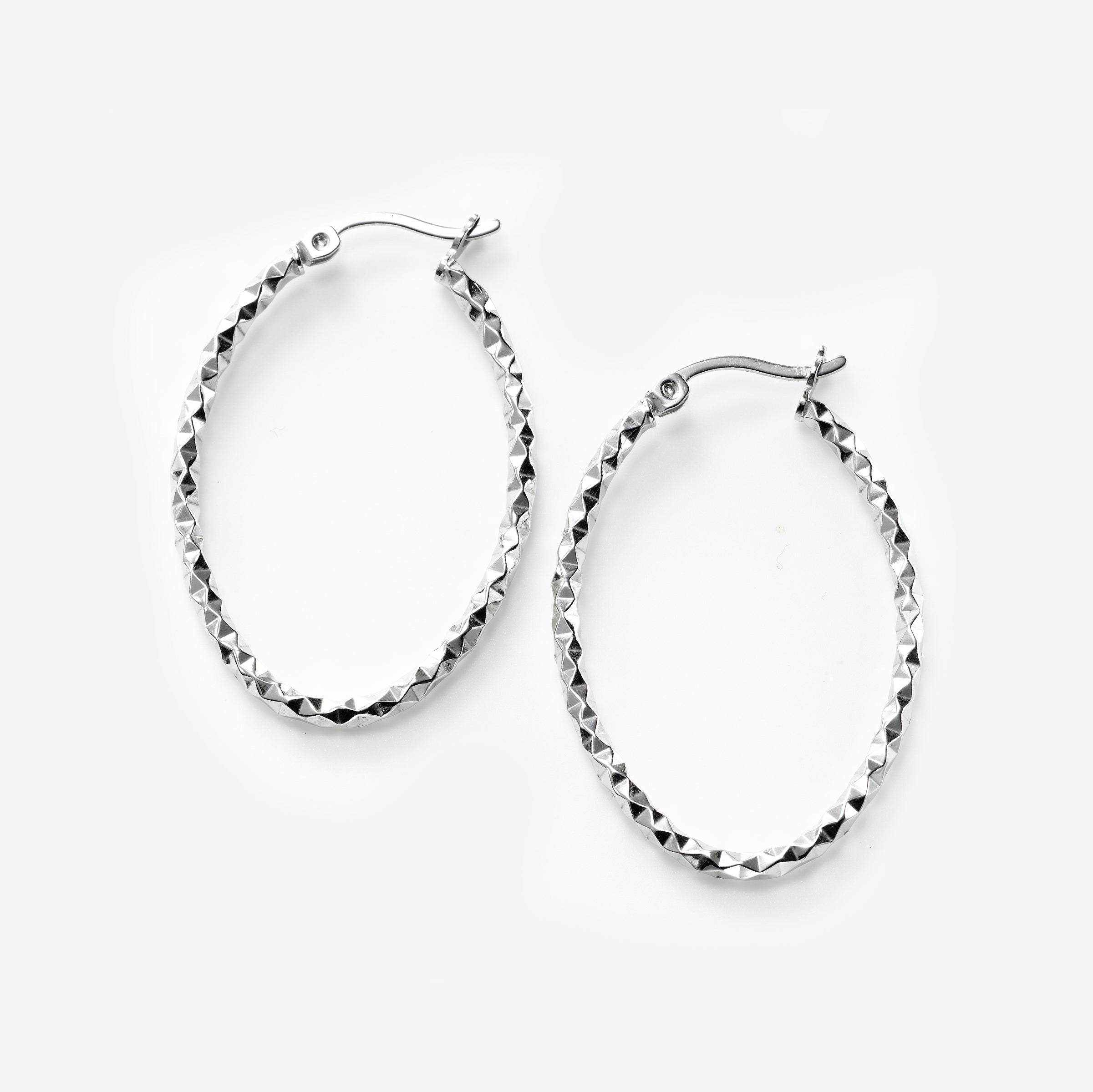 Textured Oval Hoop Earrings, 1.40 Inches, Sterling Silver