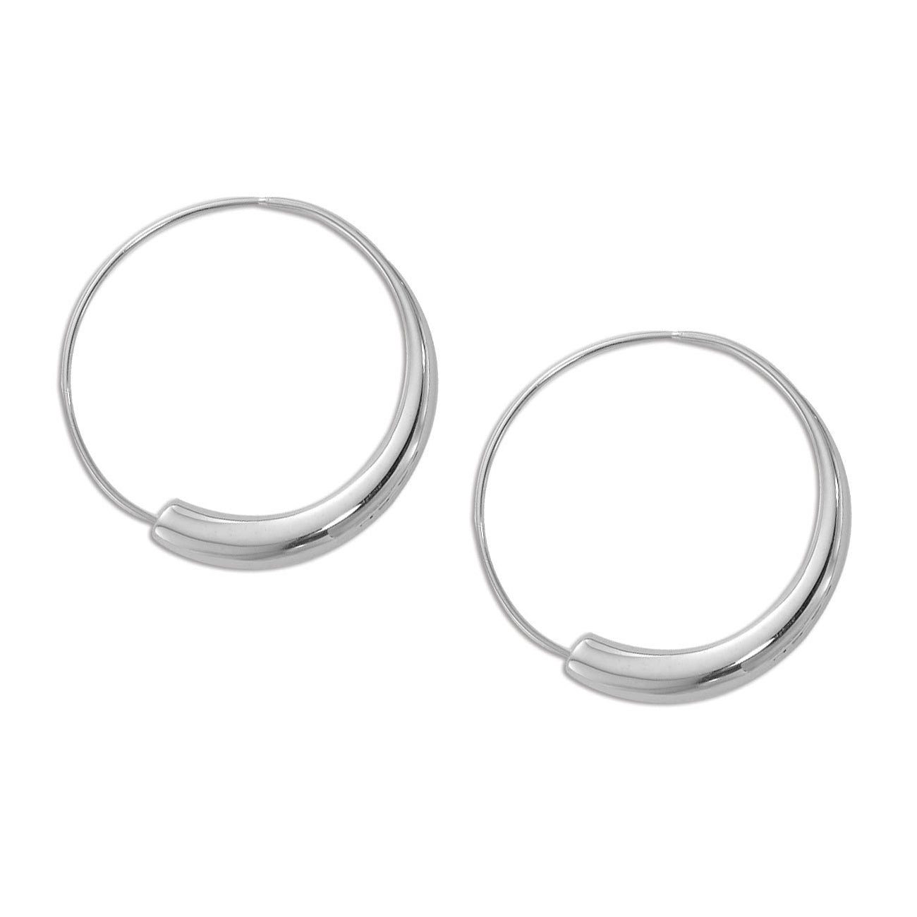 Graduated Endless Hoop Earrings, Sterling Silver