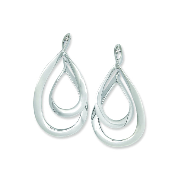 Double Teardrop Dangle Earrings, Sterling Silver