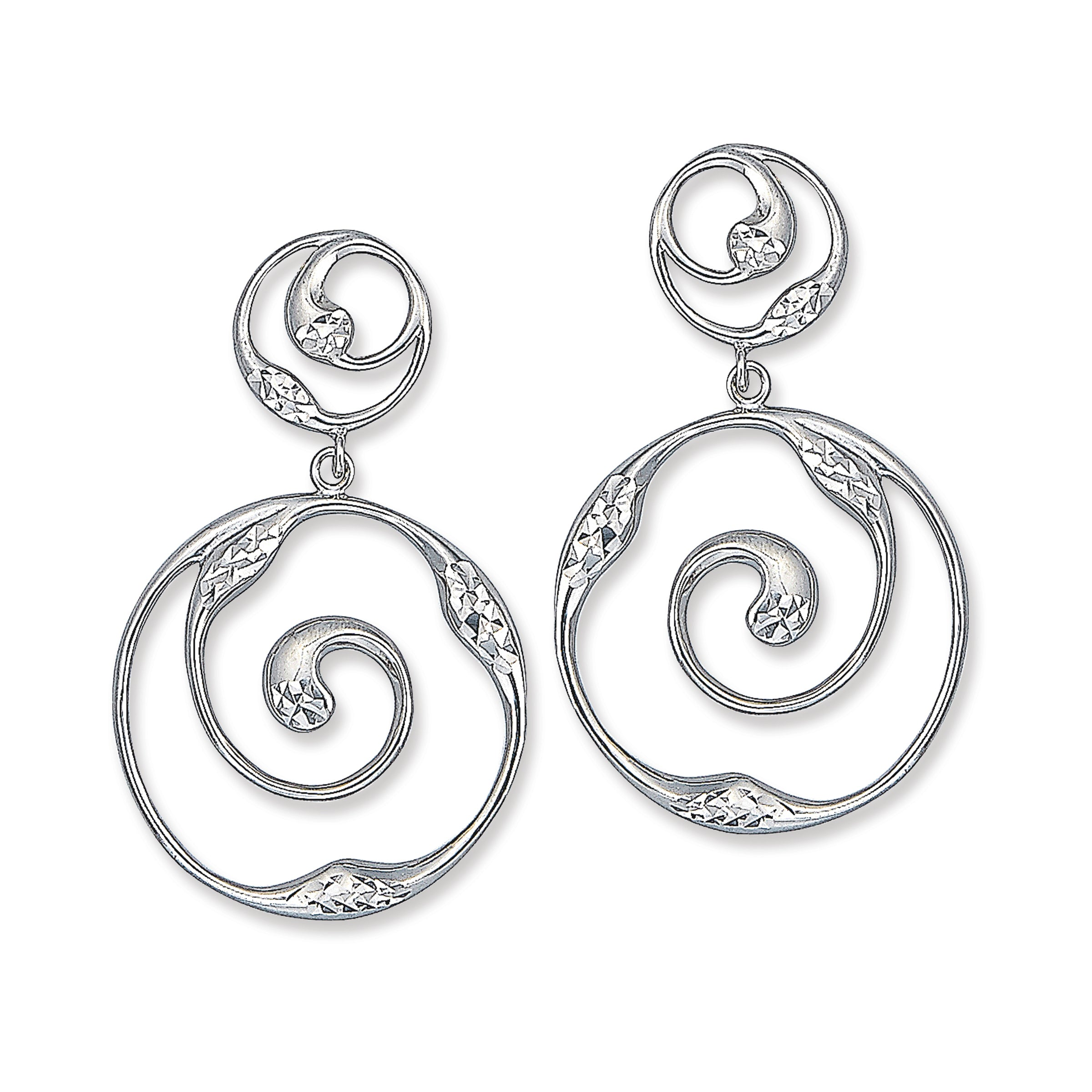 Wave Shape Dangle Earrings, Sterling Silver