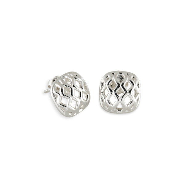 Square Trellis Button Earrings, Sterling Silver