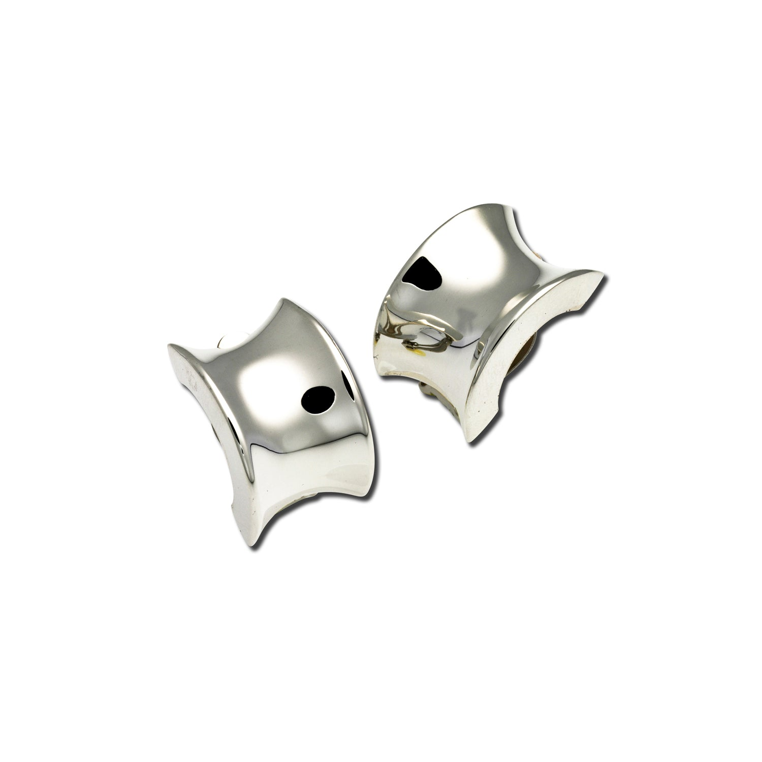 Concave Clip Earrings, Sterling Silver
