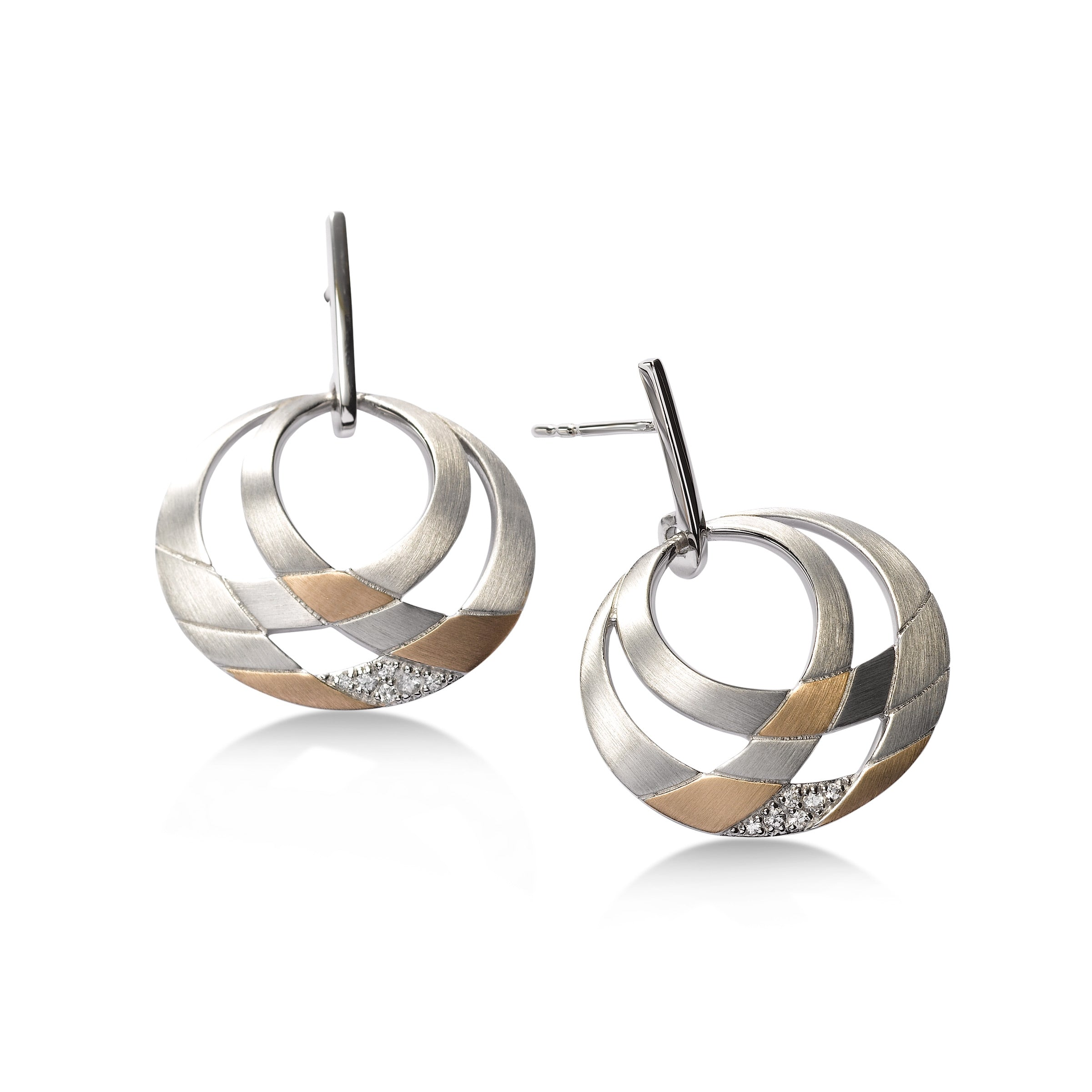 Two Tone Open Design Earrings, Sterling Silver with Rose Gold Plating