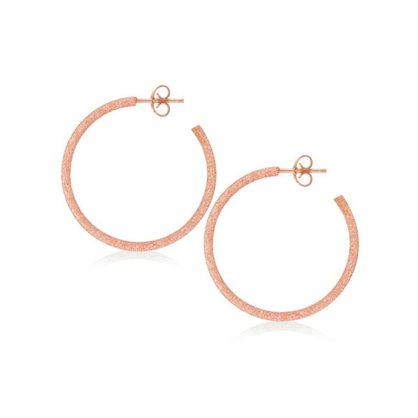 Hoop Earrings, 1.25 Inches, Sterling Silver with Rose Sparkle Finish