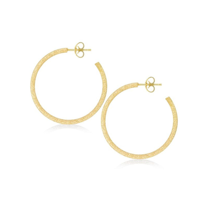Hoop Earrings, 1.25 Inches, Sterling Silver with Yellow Sparkle Finish