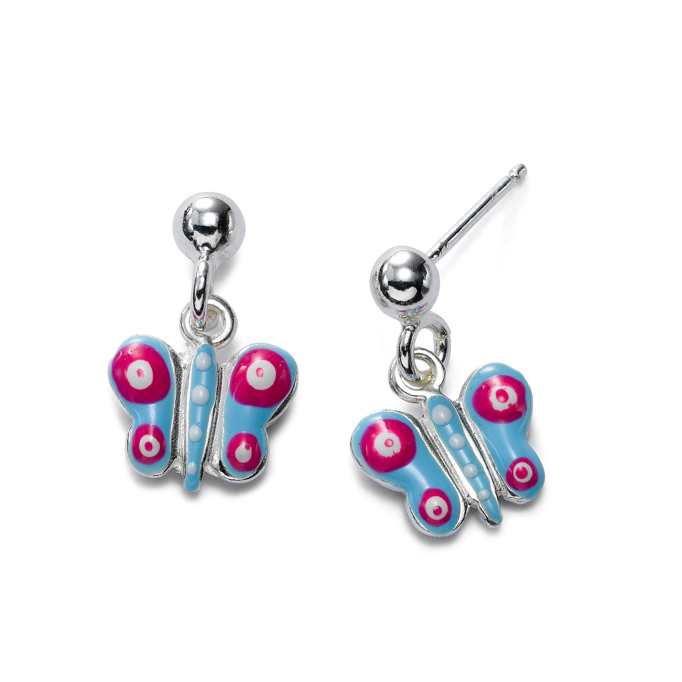 Child's Enamel Butterfly Drop Earrings, Sterling Silver