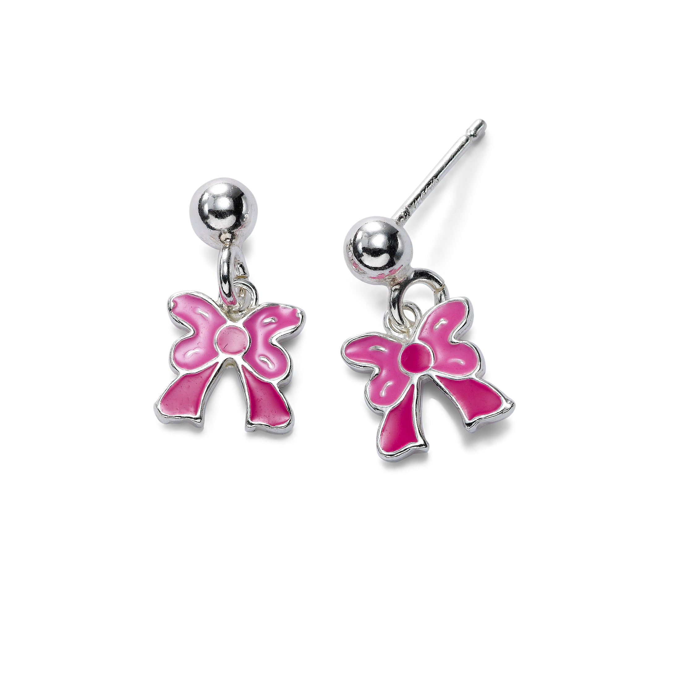 Child's Enamel Pink Bow Drop Earrings, Sterling Silver