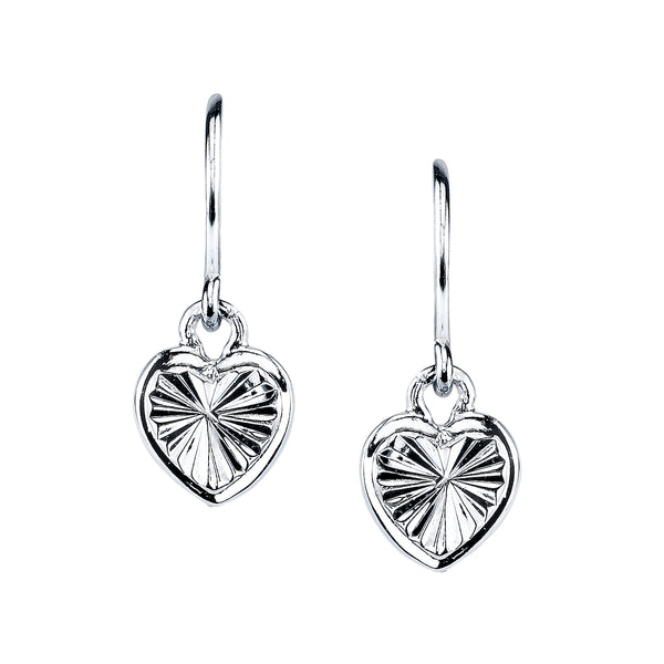 "Mini ""Love of Self"" Heart Earrings, Sterling Silver"