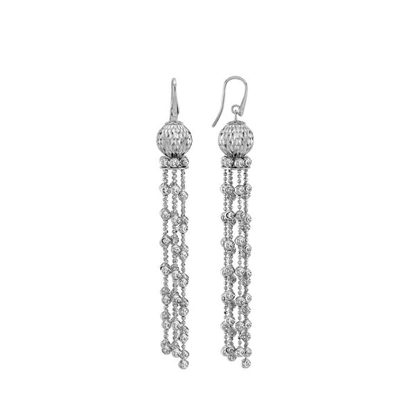 Bead Tassel Earrings, Sterling Silver with Platinum Plating