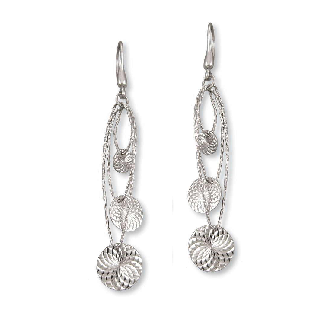Triple Disc Dangle Earrings, Sterling Silver