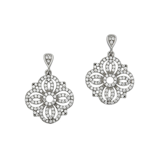 CZ Openwork Dangle Earrings, Sterling Silver