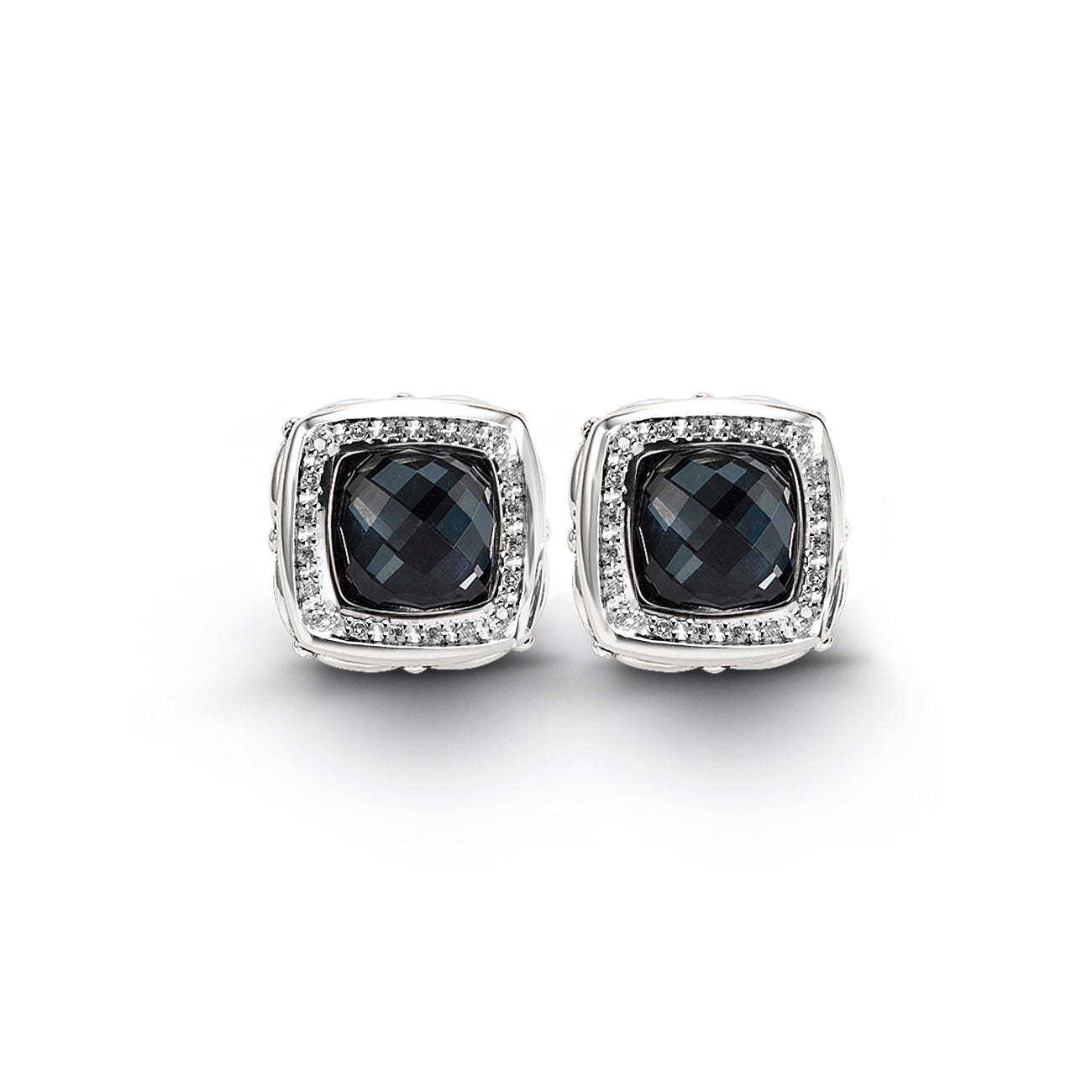 Hematite and Diamond Earrings, Sterling Silver