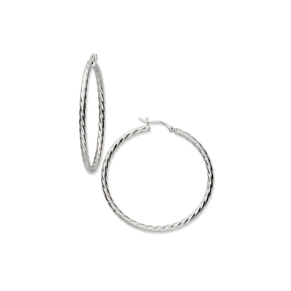 Large Twisted Hoop Earrings, 1.75 Inches, Sterling Silver